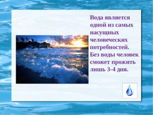 Вода является одной из самых насущных человеческих потребностей. Без воды чел