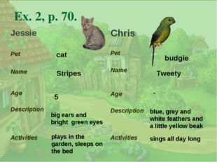 . Ex. 2, p. 70. cat Stripes big ears and bright green eyes 5 plays in the gar