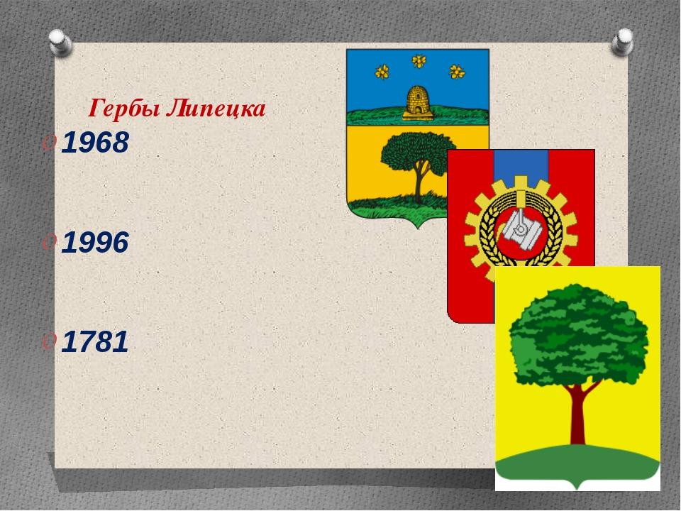 Гербы Липецка 1968 1996 1781