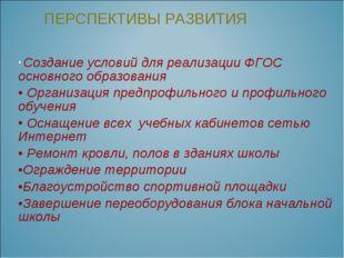 Создание условий для реализации ФГОС основного образования Организация предп