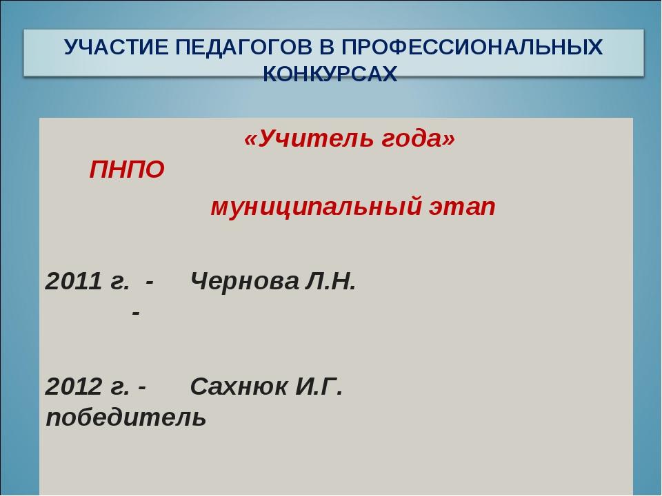 «Учитель года» ПНПО муниципальный этап 2011 г. - Чернова Л.Н. - 2012 г. - Са...