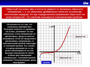 Прямой ток Обратный ток Пробой U, В I, мA Объясняется это тем, что электроны