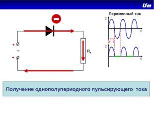 + - ~ Rн I I t t T/2 Переменный ток Получение однополупериодного пульсирующег