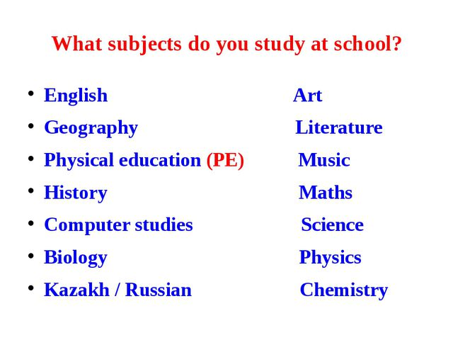 What subjects do you study at school? English Art Geography Literature Physic...