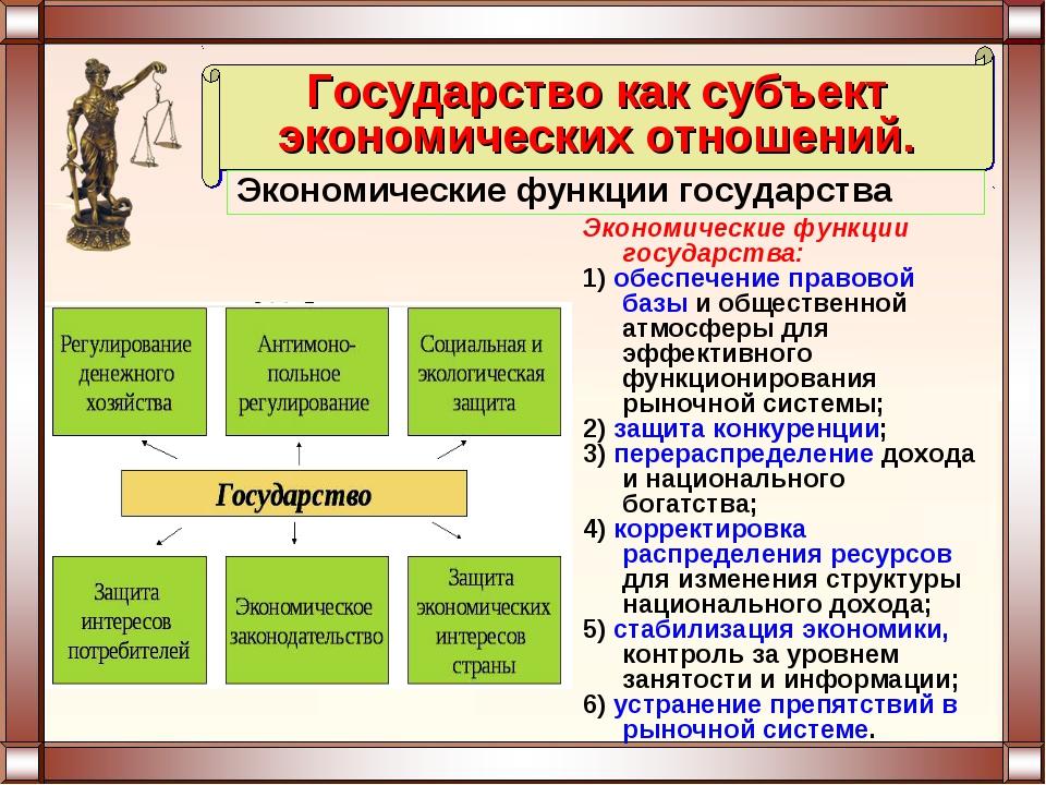 Экономические функции государства: 1) обеспечение правовой базы и общественно...