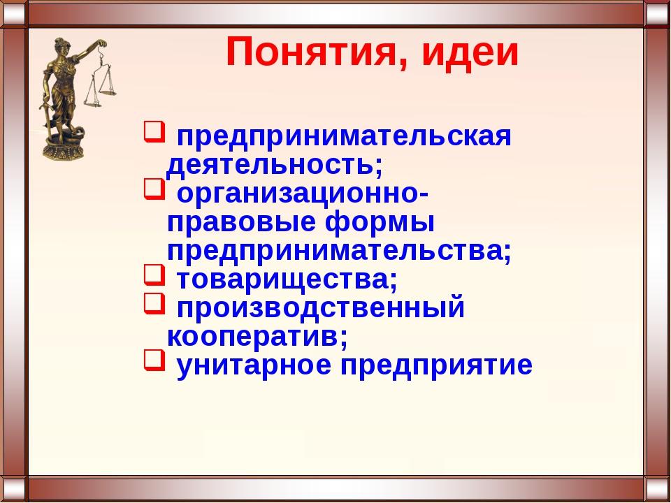 Понятия, идеи предпринимательская деятельность; организационно-правовые формы...