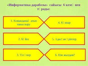 «Информатика дарабозы» сайысы 6 кезеңнен тұрады: 1. Команданың атын таныстыру