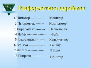 Информатика дарабозы 1.Нимотор ----------- Монитор 2.Пьюромтек ------- Компью
