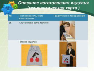 Описание изготовления изделья (технологическая карта ) № Последовательность и