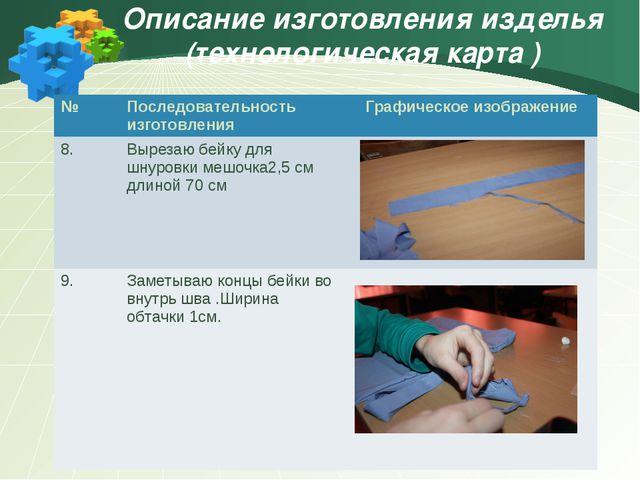 Описание изготовления изделья (технологическая карта ) № Последовательность и...