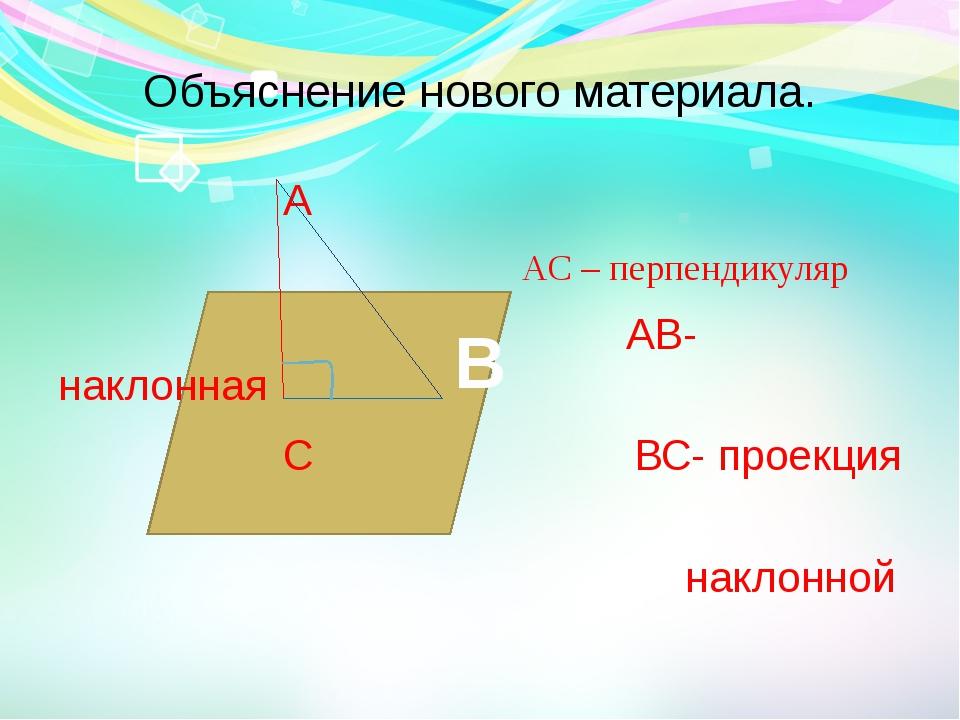 Объяснение нового материала. А АС – перпендикуляр АВ- наклонная С ВС- проекци...