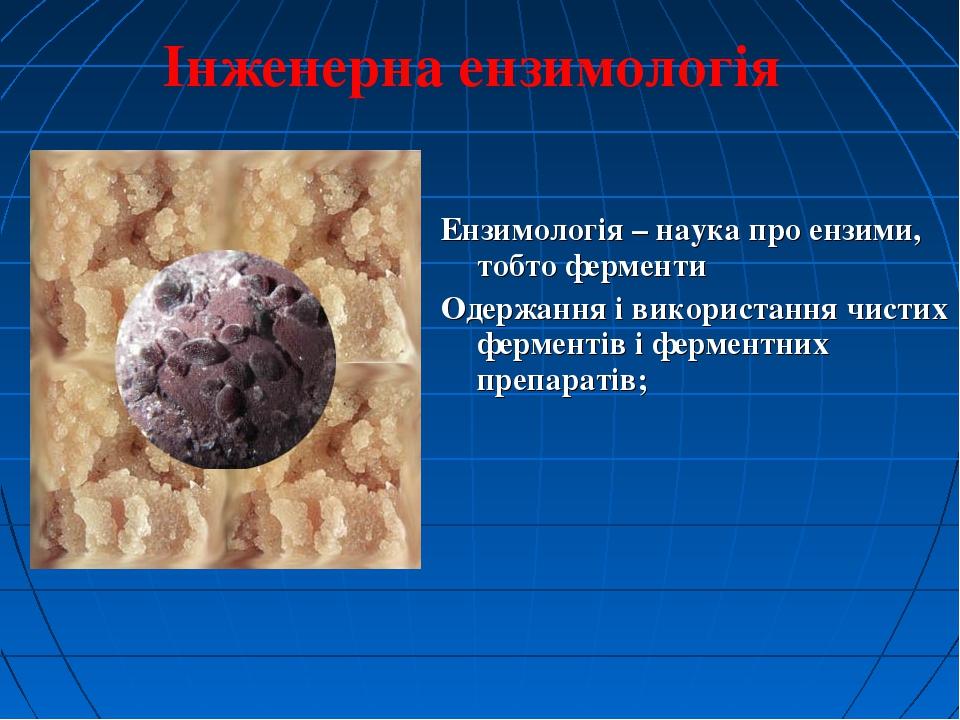 Ензимологія – наука про ензими, тобто ферменти Одержання і використання чист...