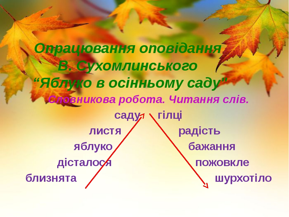 """Опрацювання оповідання В. Сухомлинського """"Яблуко в осінньому саду"""" Словников..."""