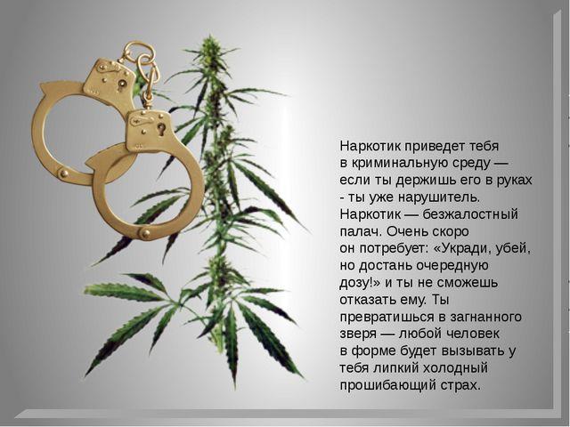 Наркотик приведет тебя вкриминальную среду— если тыдержишь его вруках - т...