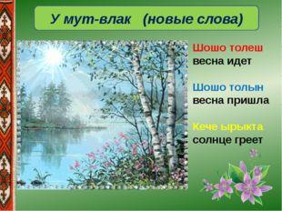 У мут-влак (новые слова) Шошо толеш весна идет Шошо толын весна пришла Кече ы