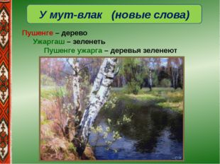 У мут-влак (новые слова) Пушенге – дерево Ужаргаш – зеленеть Пушенге ужарг