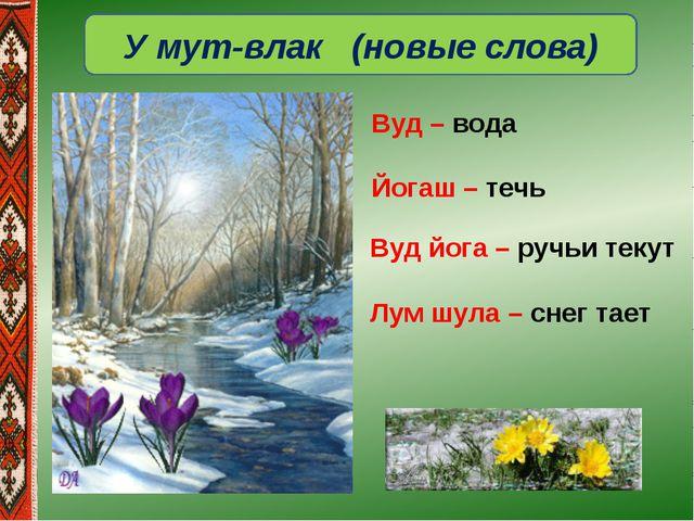 У мут-влак (новые слова) Вуд йога – ручьи текут Лум шула – снег тает Вуд – во...