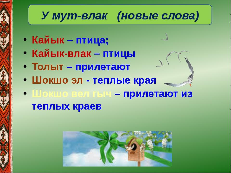 У мут-влак (новые слова) Кайык – птица; Кайык-влак – птицы Толыт – прилетают...