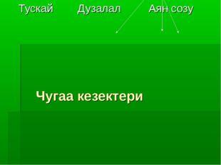 Чугаа кезектери Тускай Дузалал Аян созу