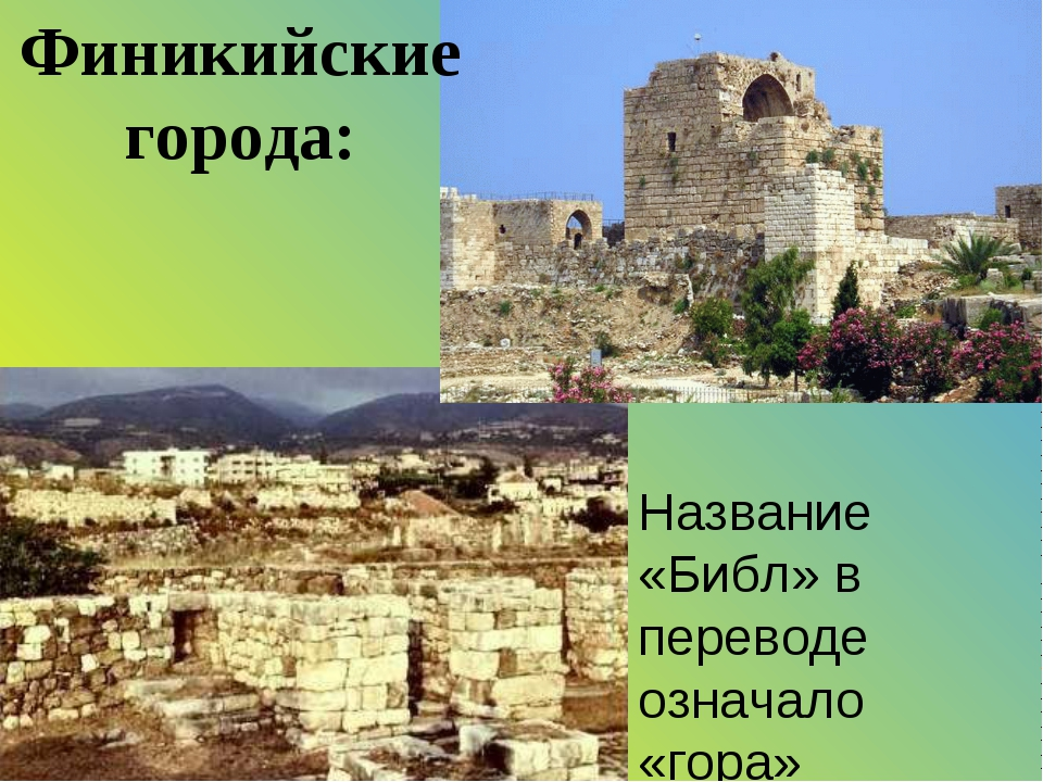 Название «Библ» в переводе означало «гора» Финикийские города: