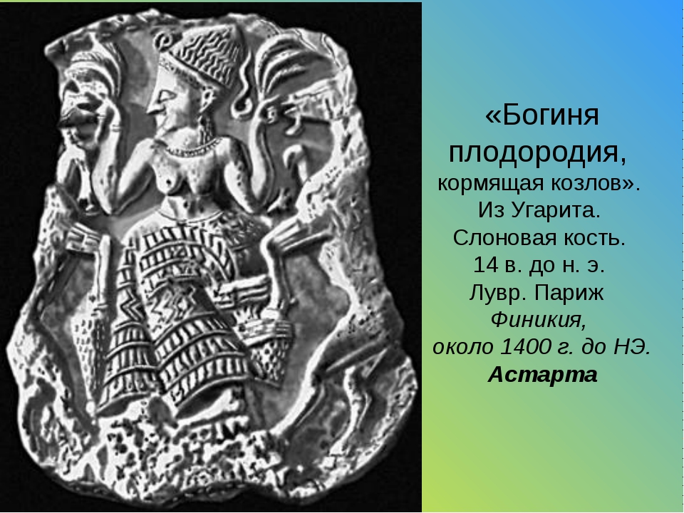 «Богиня плодородия, кормящая козлов». Из Угарита. Слоновая кость. 14 в. до н....