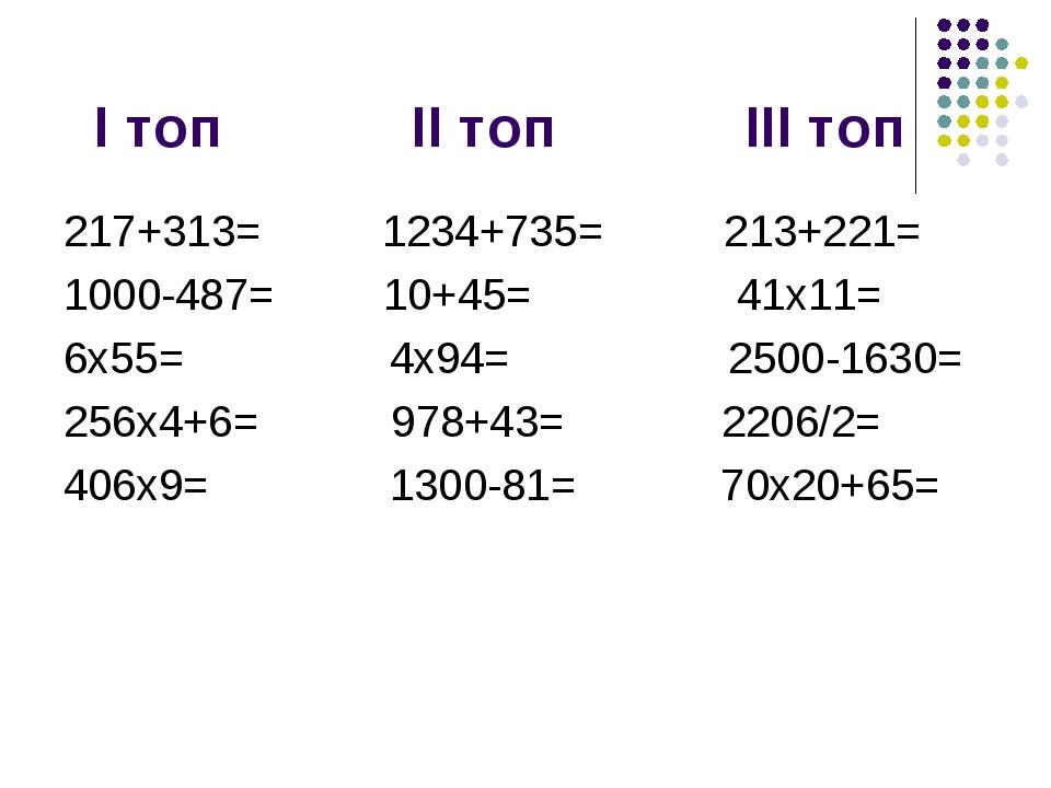 І топ ІІ топ ІІІ топ 217+313= 1234+735= 213+221= 1000-487= 10+45= 41x11= 6x5...
