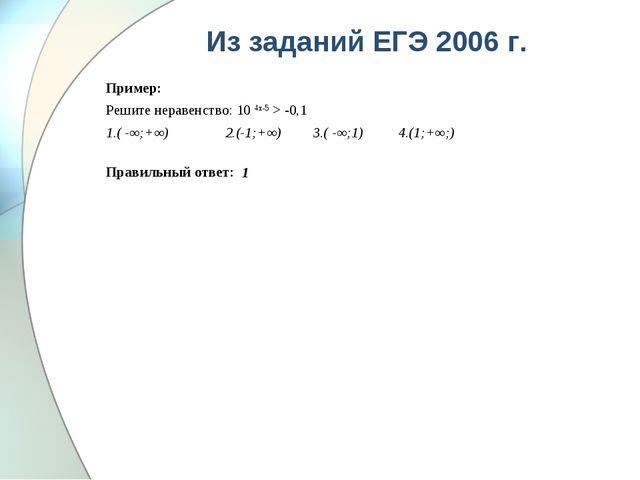 Из заданий ЕГЭ 2006 г. Пример: Решите неравенство: 10 4х-5 > -0,1 1.( -∞;+∞)...