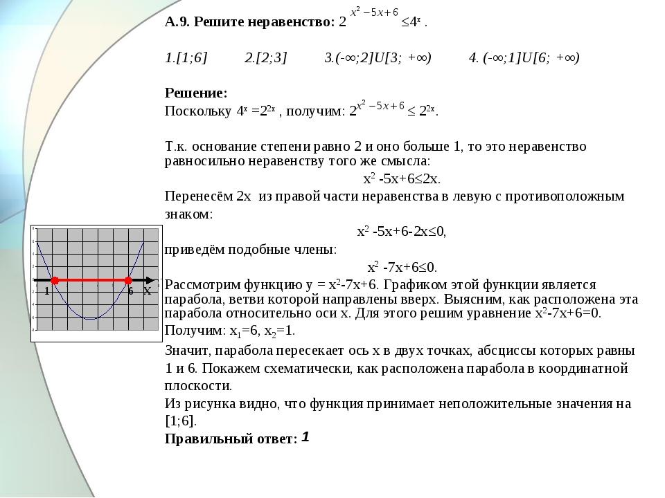 А.9. Решите неравенство: 2 ≤4х . 1.[1;6] 2.[2;3] 3.(-∞;2]U[3; +∞) 4. (-∞;1]U[...
