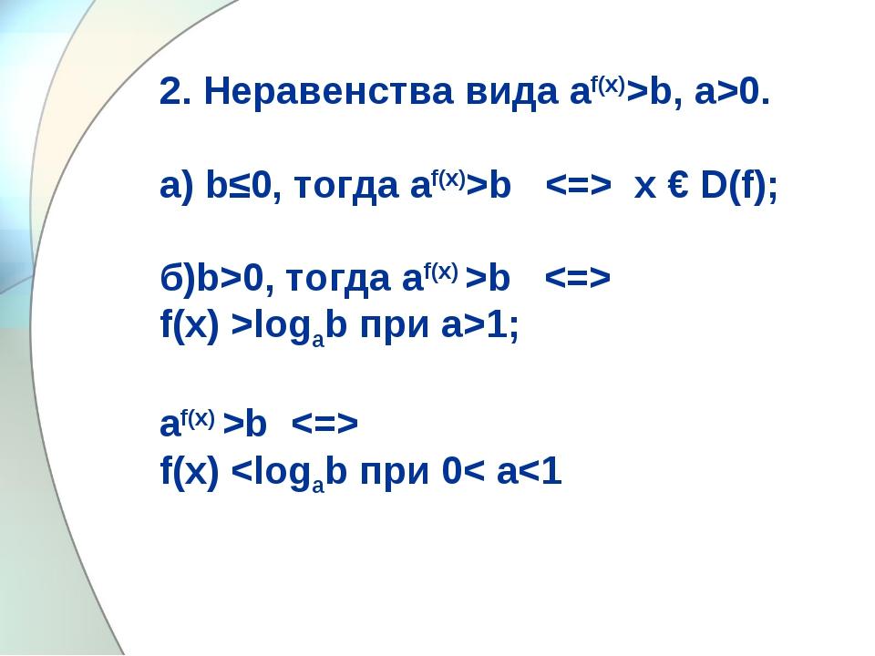2. Неравенства вида аf(x)>b, а>0. а) b≤0, тогда аf(x)>b  х € D(f); б)b>0, тог...