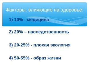 1) 10% - медицина 2) 20% – наследственность 3) 20-25% - плохая экология 4) 50