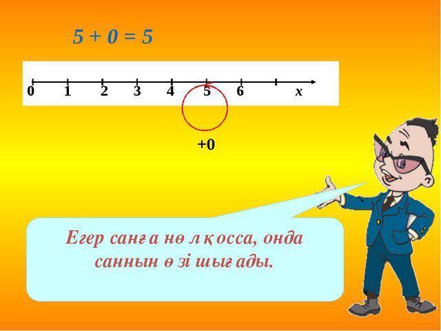 5 + 0 = 5 +0 Егер санға нөл қосса, онда саннын өзі шығады. 0 1 2 3 4 5 6 х