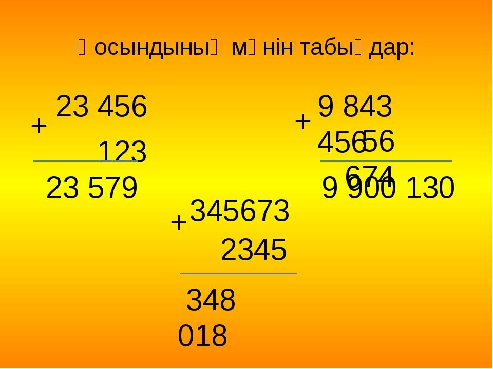 Қосындының мәнін табыңдар: 23 456 123 23 579 348 018 9 900 130 + 345673 2345...