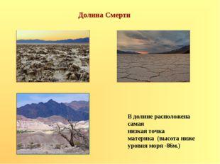 Долина Смерти В долине расположена самая низкая точка материка (высота ниже у