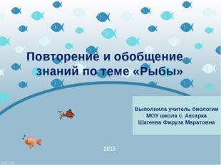 Повторение и обобщение знаний по теме «Рыбы» 2015 Выполнила учитель биологии