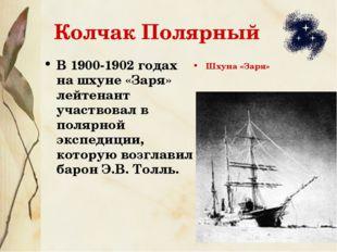 Колчак Полярный В 1900-1902 годах на шхуне «Заря» лейтенант участвовал в поля