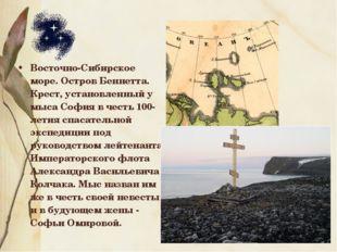 Восточно-Сибирское море. Остров Беннетта. Крест, установленный у мыса София в