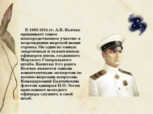 В 1905-1914 гг. А.В. Колчак принимает самое непосредственное участие в возро