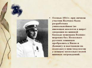 Осенью 1914 г. при личном участии Колчака была разработана уникальнейшая (не