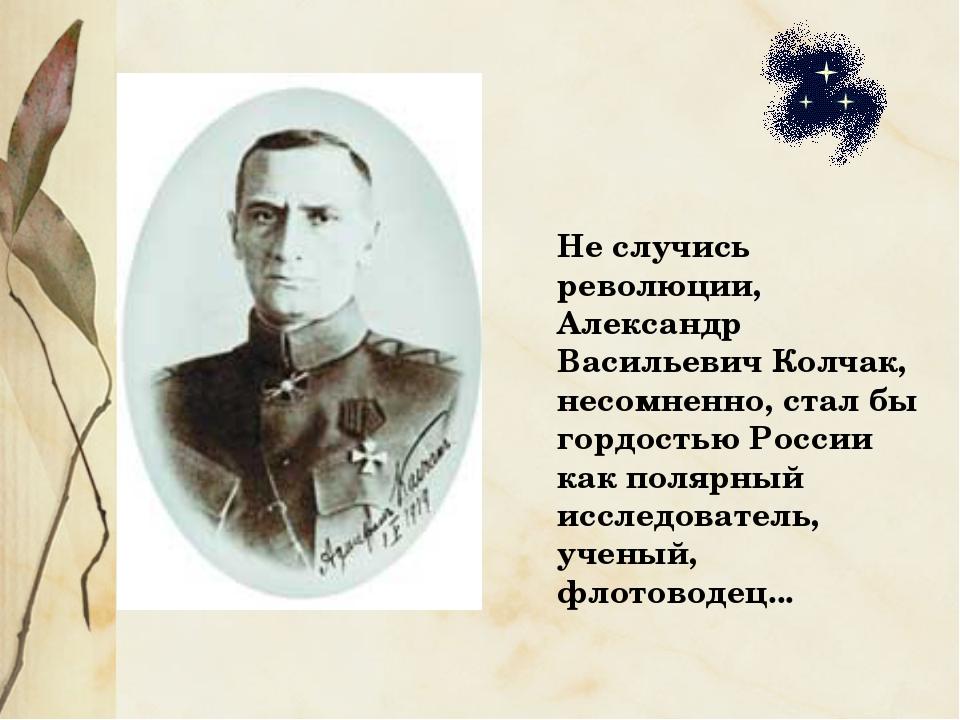 Не случись революции, Александр Васильевич Колчак, несомненно, стал бы гордос...