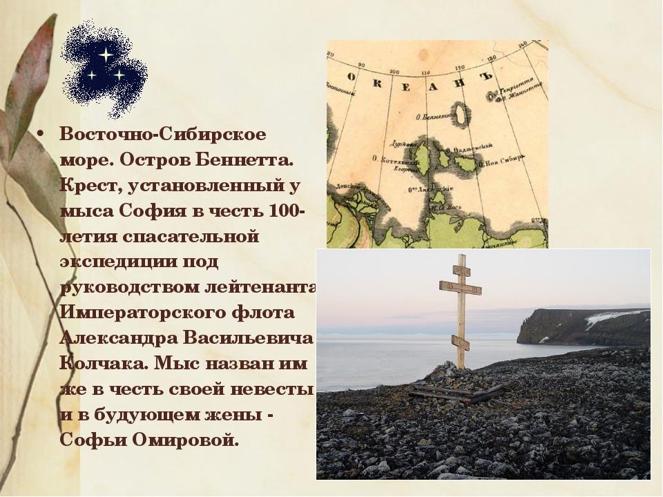 Восточно-Сибирское море. Остров Беннетта. Крест, установленный у мыса София в...