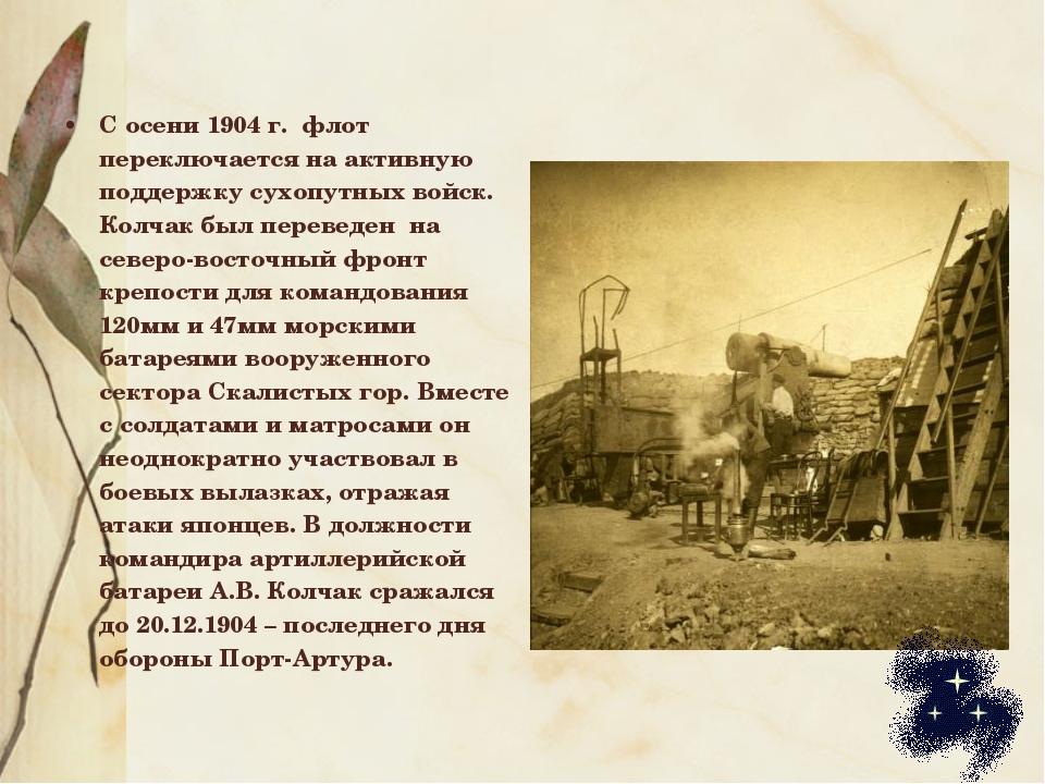 С осени 1904 г. флот переключается на активную поддержку сухопутных войск. Ко...