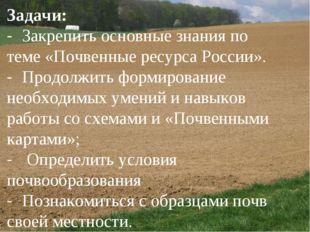 Задачи: - Закрепить основные знания по теме «Почвенные ресурса России». - Пр