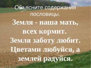 Объясните содержания пословицы. Земля - наша мать, всех кормит. Земля забот