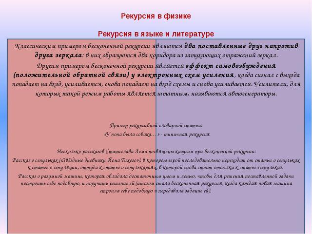 Рекурсия в физике Рекурсия в языке и литературе Классическим примером бескон...