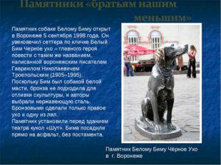 Памятник собаке Белому Биму открыт в Воронеже 5 сентября 1998 года. Он увеков