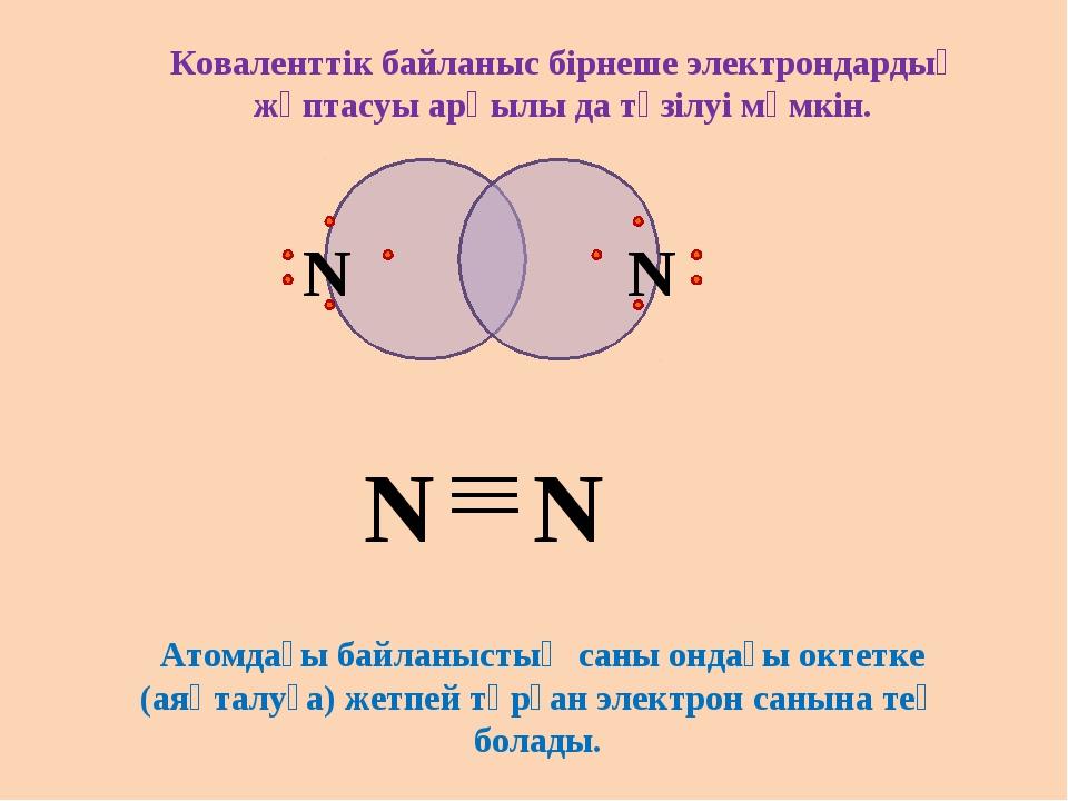N N Коваленттік байланыс бірнеше электрондардың жұптасуы арқылы да түзілуі мү...