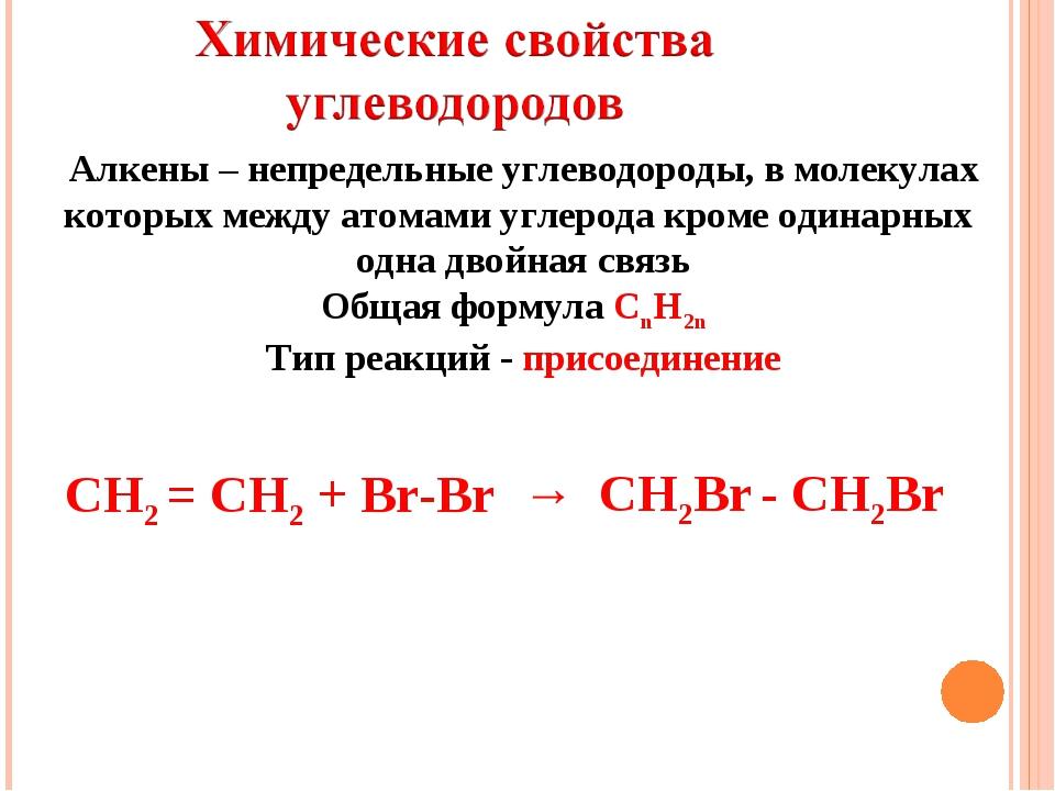 Алкены – непредельные углеводороды, в молекулах которых между атомами углерод...