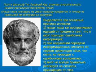 Поэт и философ Тит Лукреций Кар, отмечая относительность нашего зрительного