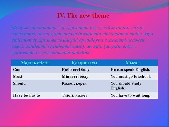 IV. The new theme Модаль етістіктері – іс-әрекетті емес, сөйлеушінің сол іс-...