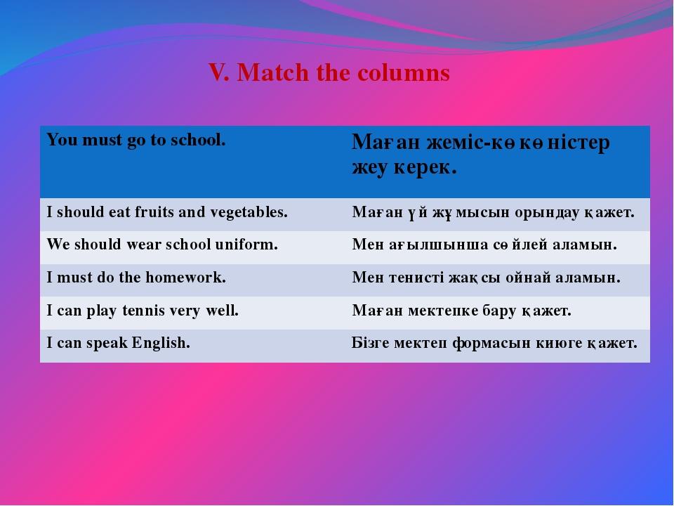 V. Match the columns You must go to school. Мағанжеміс-көкөністер жеу керек....